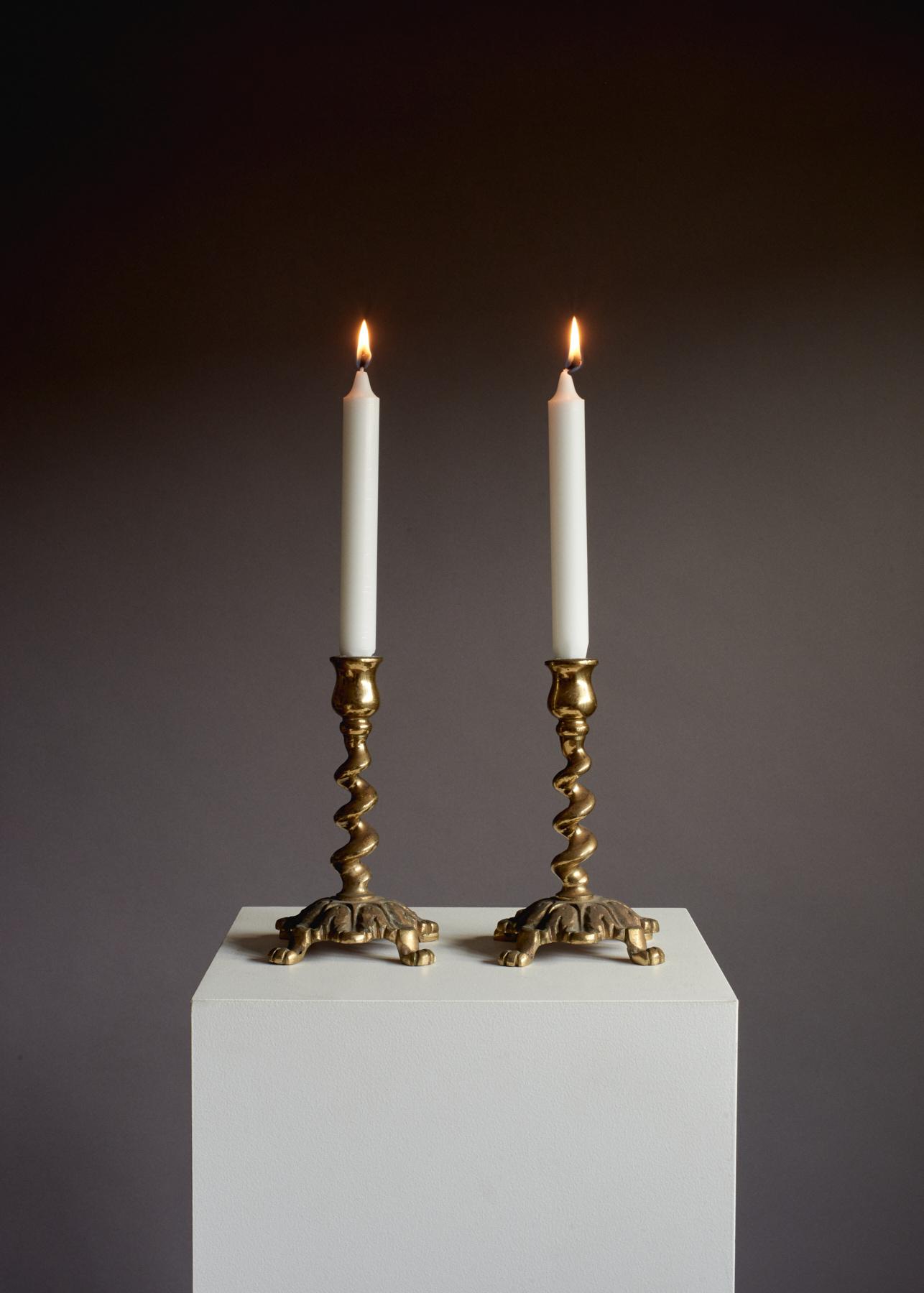 Vintage Brass Spiral Twist Candle Holders – Set of 2