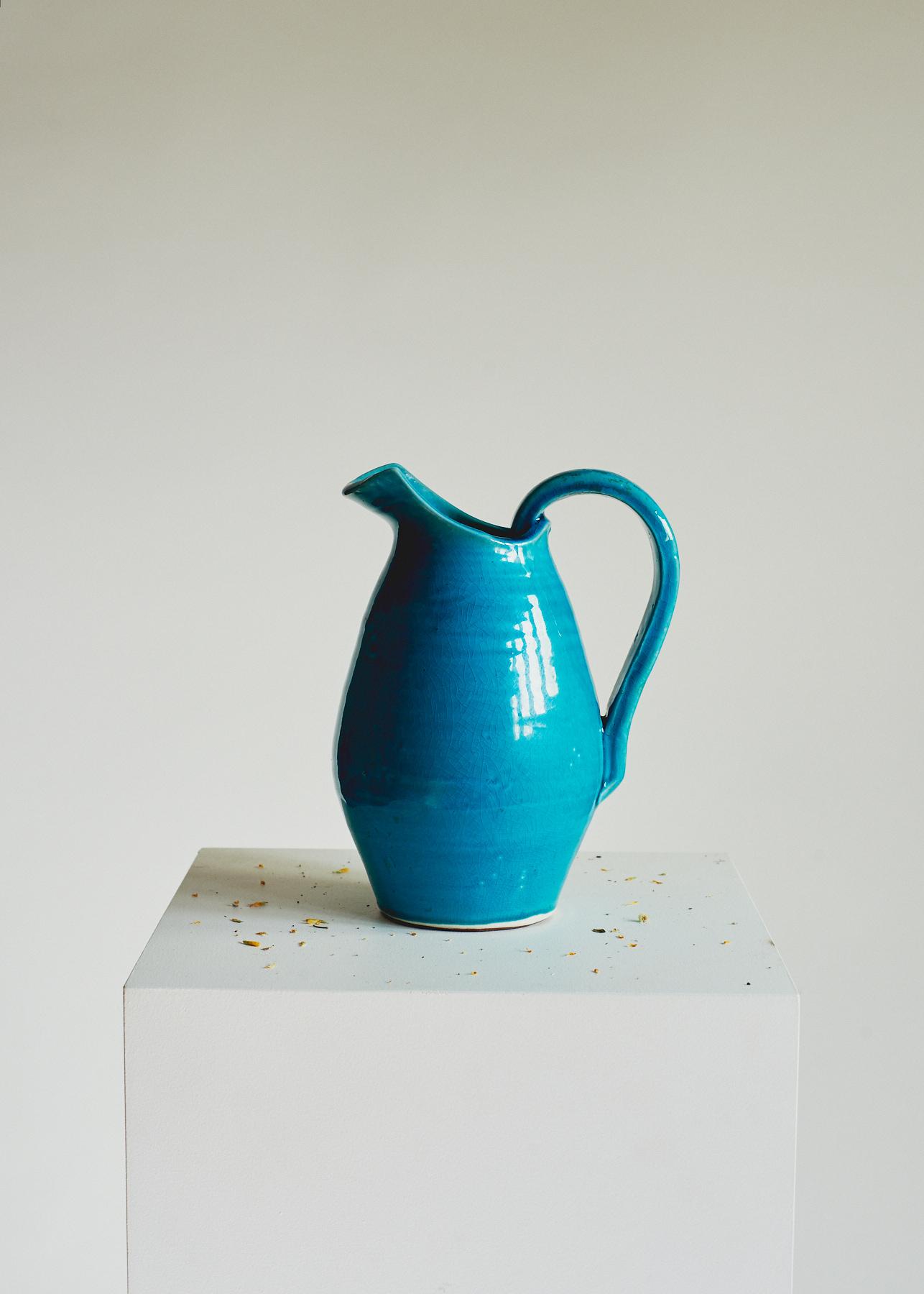 Vintage Pottery Jug – Turquoise
